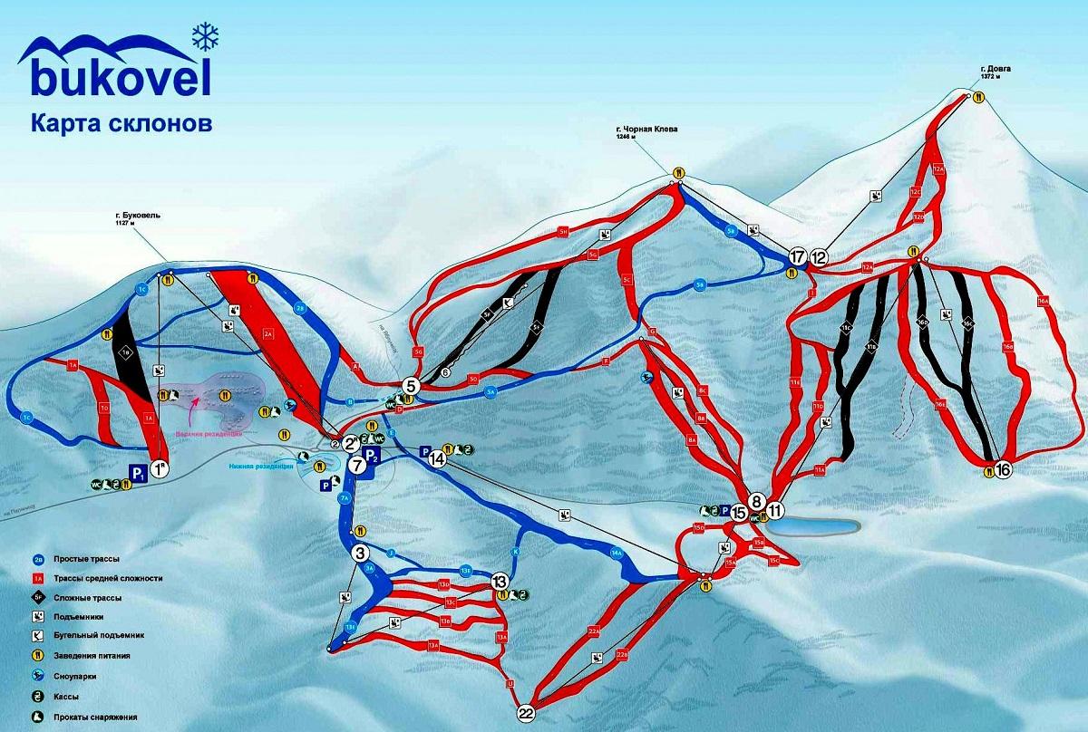karta spuskov bukovelya - Що потрібно знати початківцю лижникові?