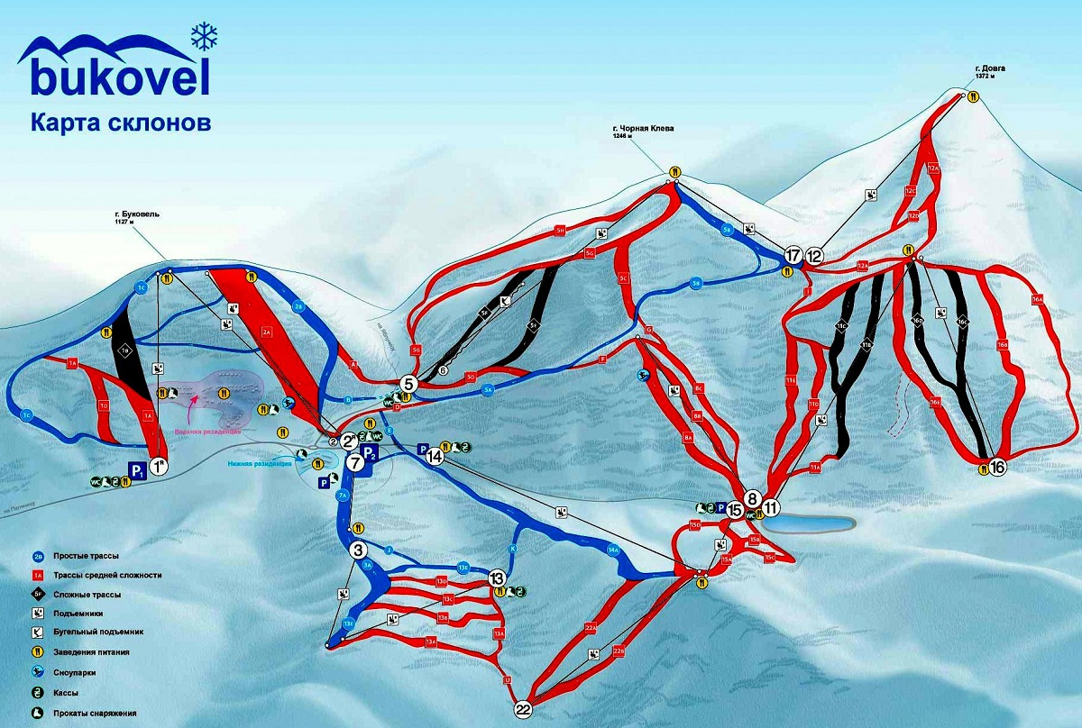 karta spuskov bukovelya - Что нужно знать начинающему лыжнику ?