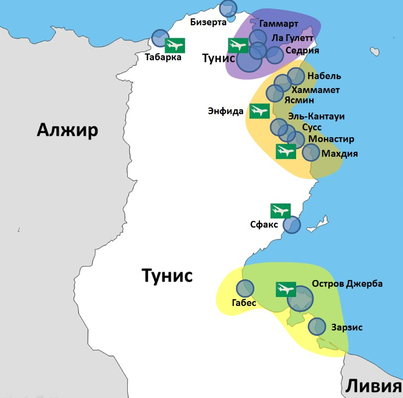 tunis map resorts 1 - Туніс