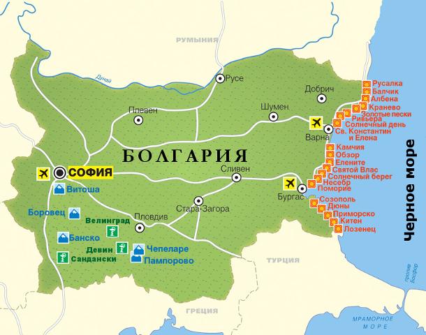 Bulgaria map - Болгария