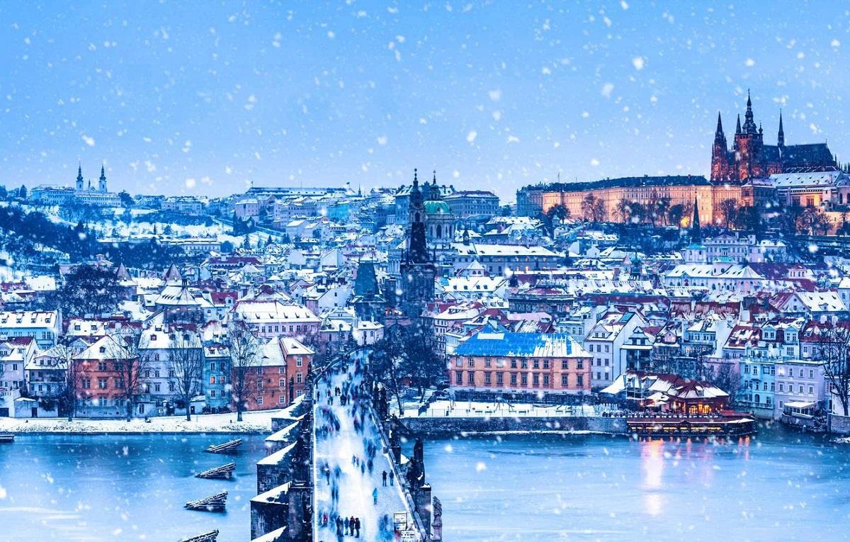 praga chekhiia karlov most zima reka panorama rozhdestvo - Пражские выходные 8 марта